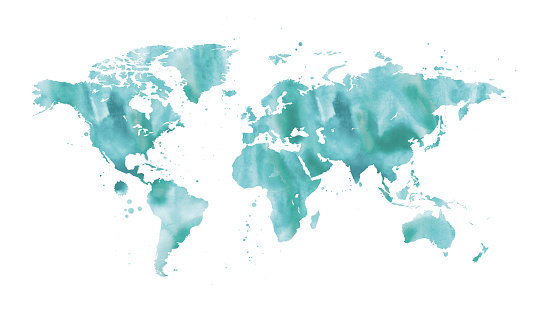blue watercolor map