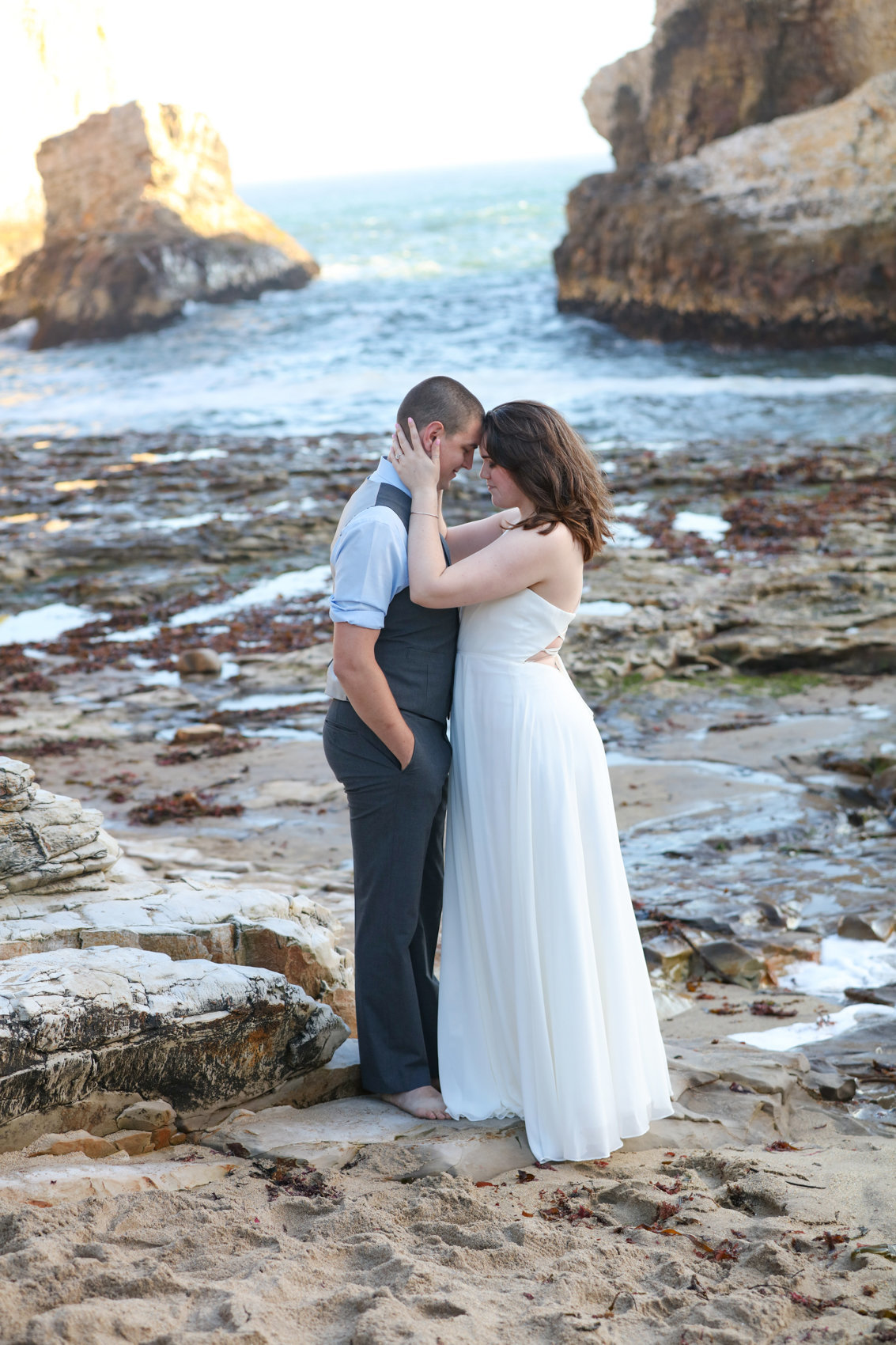 Natural light portraits on beach, DeNeffe studios engagement and wedding photography