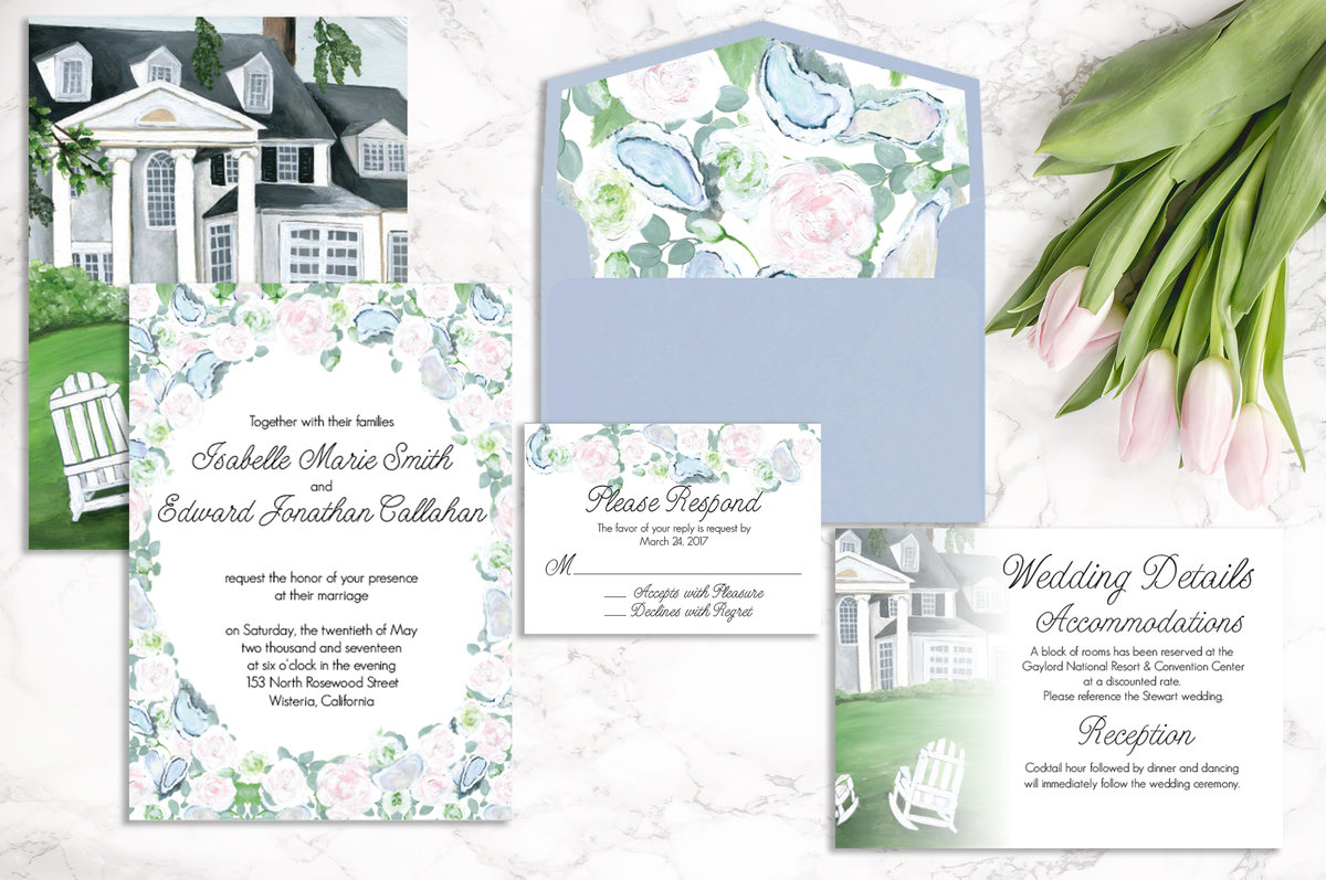 Custom, hand painted Inn at Perry Cabin wedding invitation suite