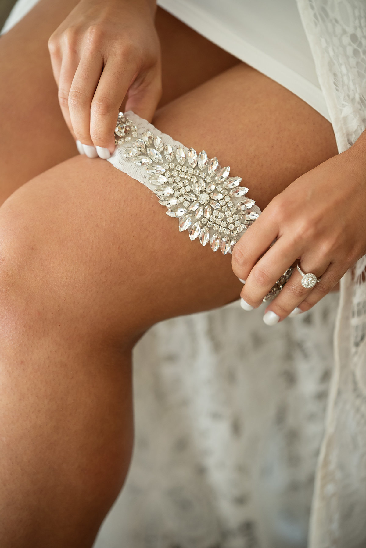 Sparkly wedding garter