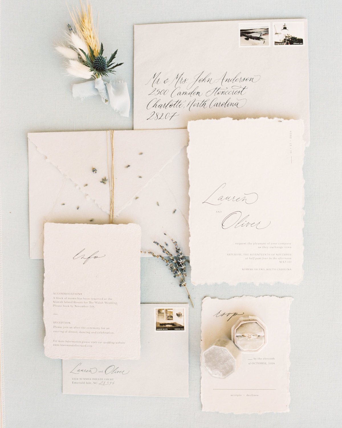 Minimal and organic typography and calligraphy invitation suite by Dominique Alba