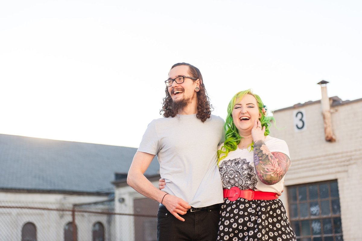 richmond engagement session at old bus depot with colorful hipster couple