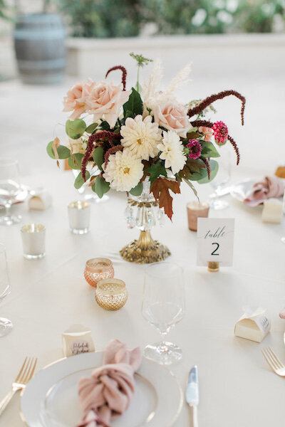 pretty table arrangement in crystal dish