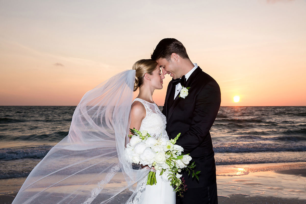 marco beach ocean resort sunset wedding cathedral veil