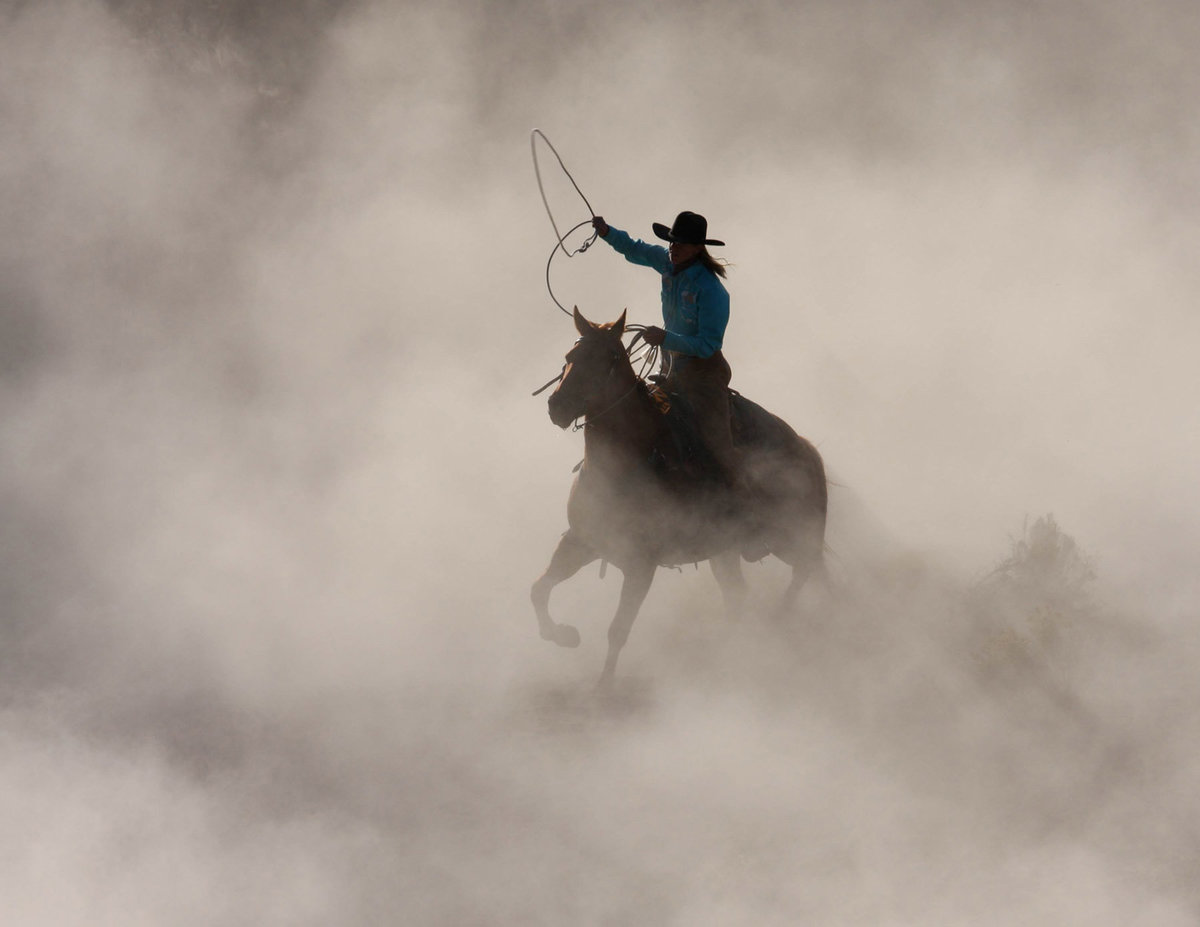 cowboy with horse in dust photographer horse Lynette Smith Photography