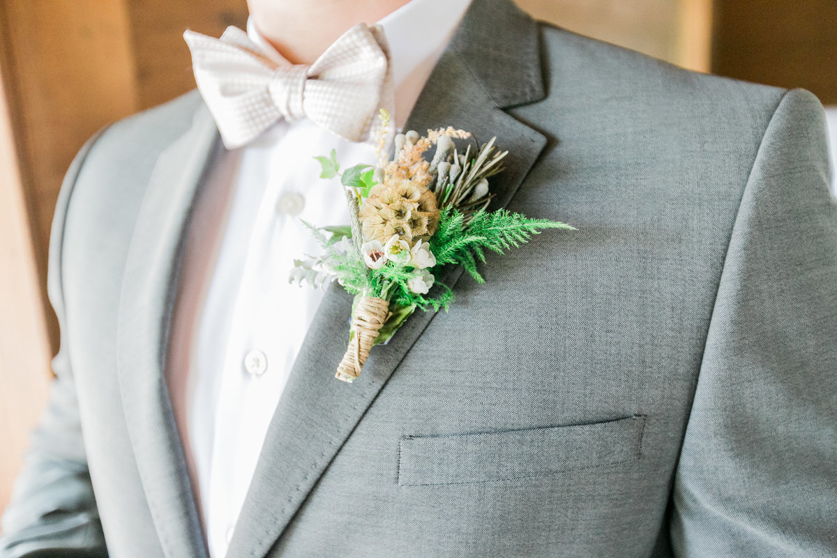 Green Silver Boutonniere