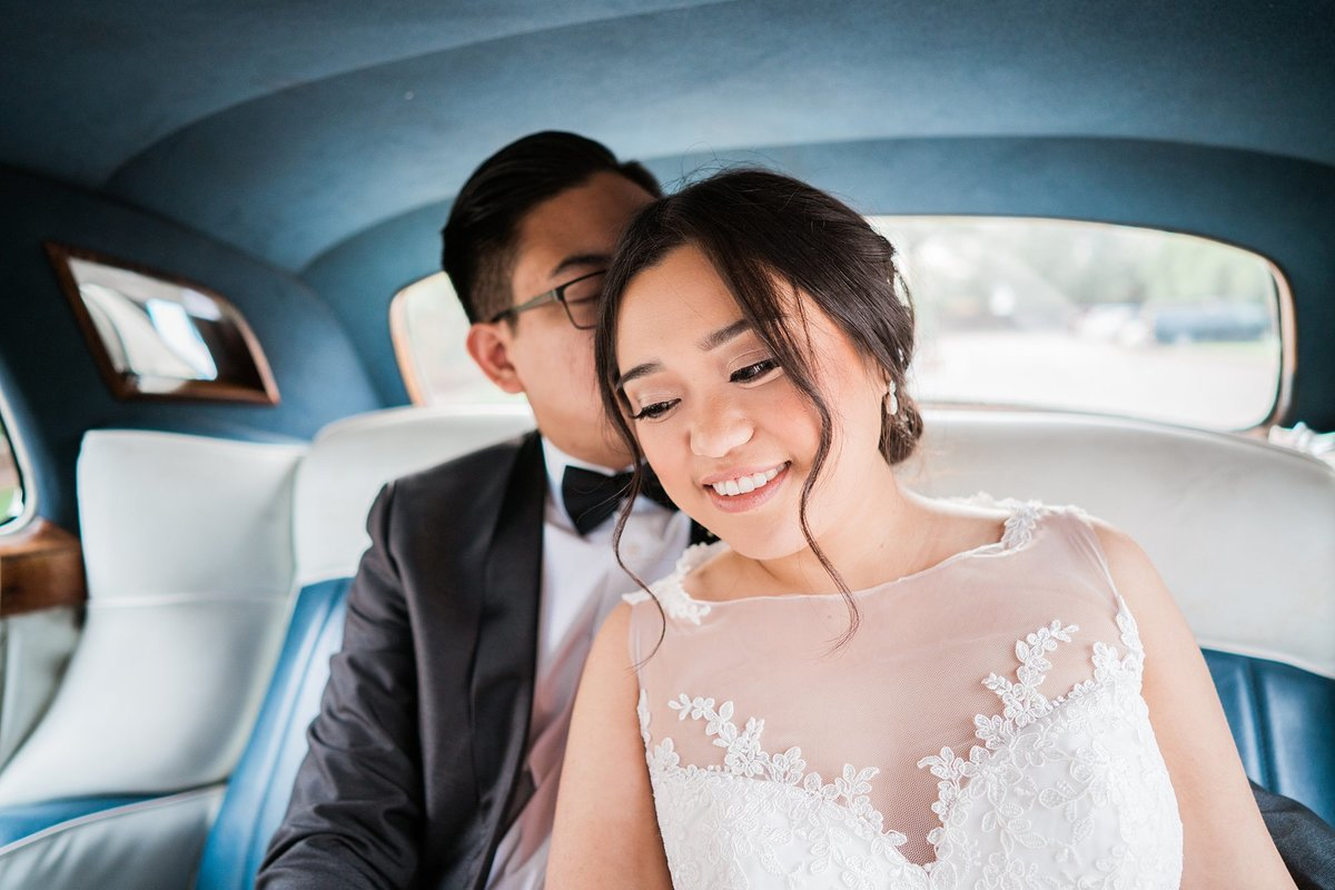 Secret Garden wedding photos with antique car Arizona wedding photographers Dan & Erin PhotoCinema
