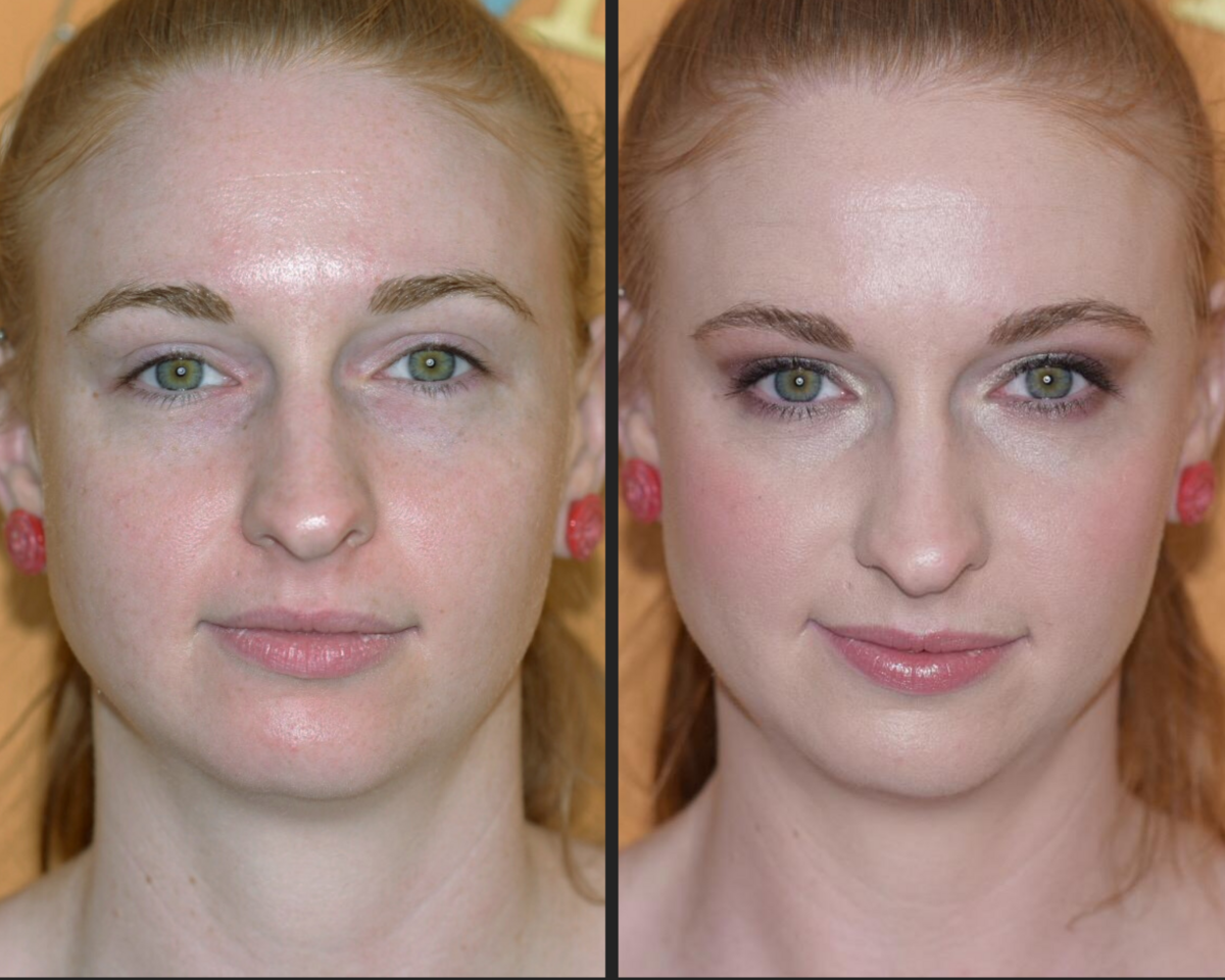 before and after makeup green eyed and red haired beauty with pink cheeks and lips and a colorful eye to accentuate green eyes