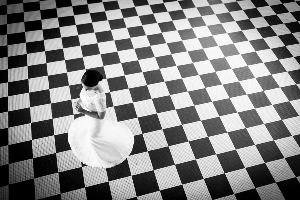 Columbus Park Refectory, black and white, bride, checkerboard pattern.