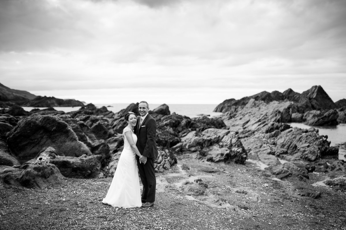 black and white wedding photo from tunnels beaches devon