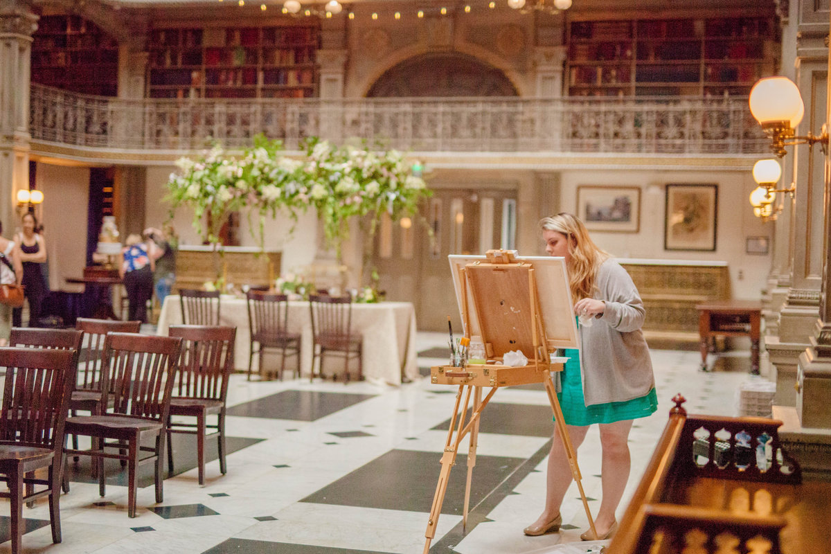 George Peabody Library Live Wedding Painting Baltimore By Brittany Branson