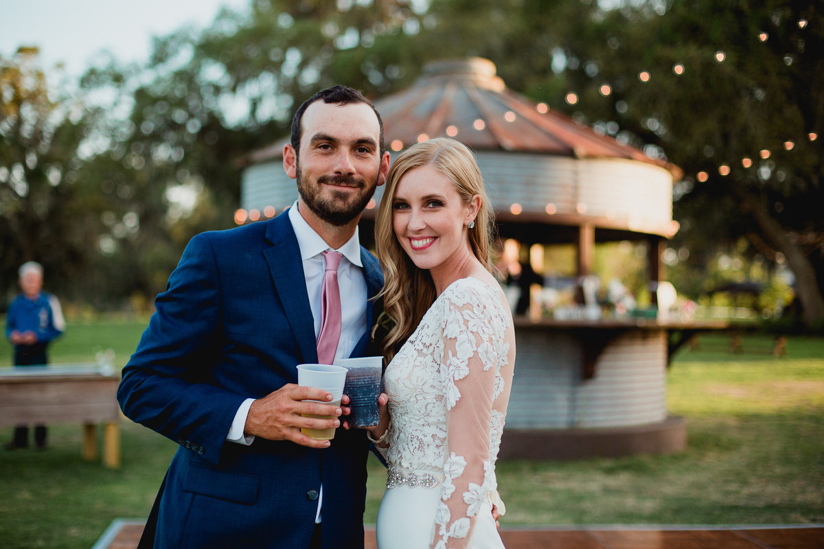 north florida couple enjoying cocktail hour at seven hills farms