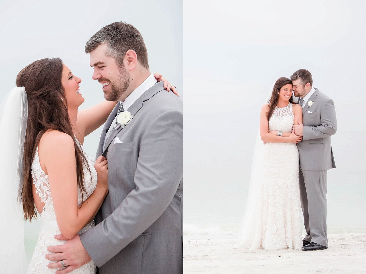 beach wedding photography bride and groom portraits