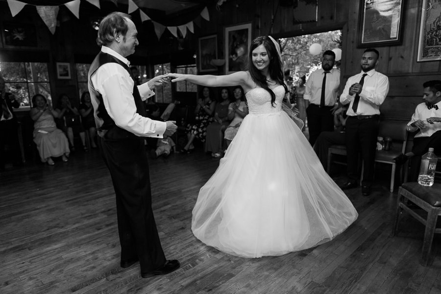 Father spins daughter on the dance floor at her wedding