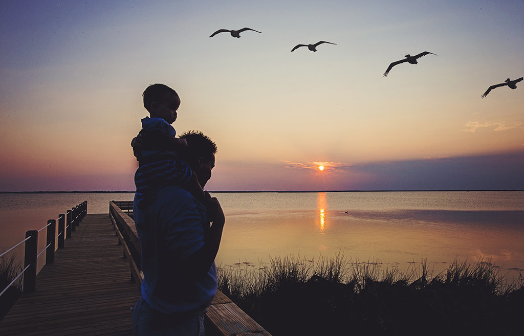 charlotte family photographer jamie lucido creates a beautiful silhouette image of a father and child at Corolla, north carolina, on a dock with birds and water in the background as the sun sets