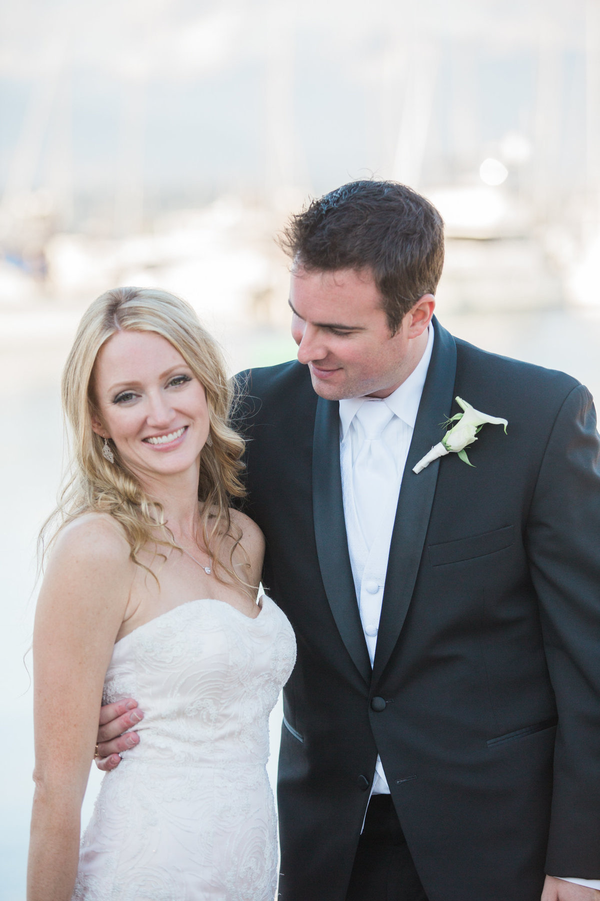 bride and groom at  Vancouver Yacht Club wedding