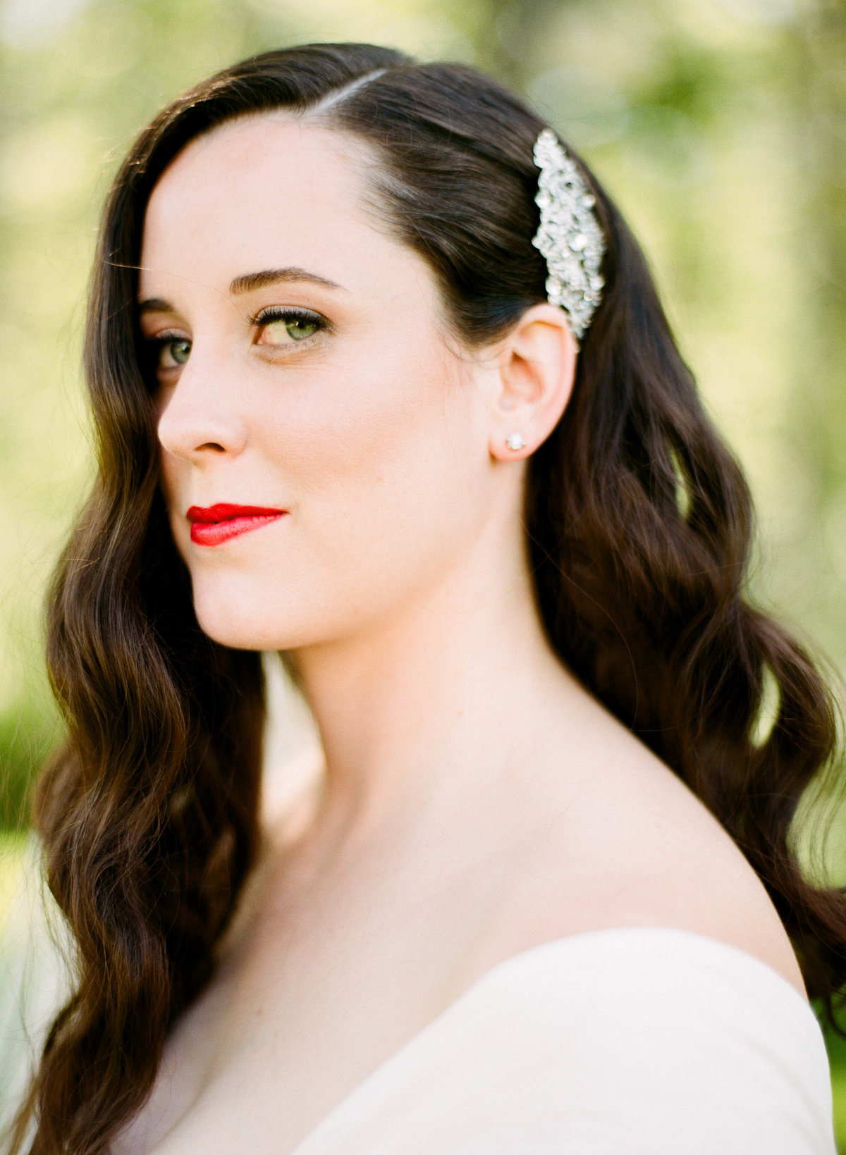 classic bride red lipstick maine wedding photographer