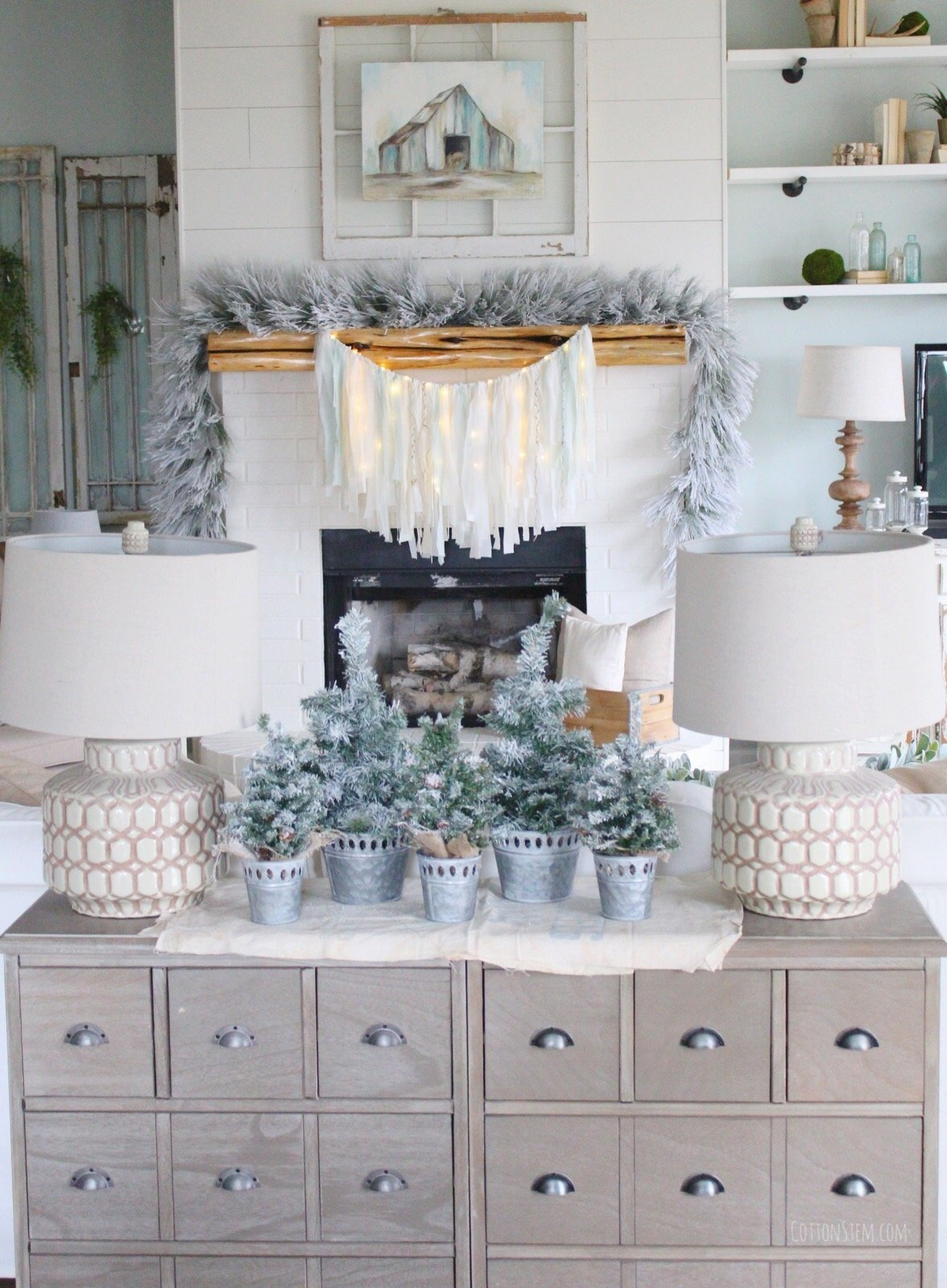 CottonStem.com farmhouse christmas decor white fireplace