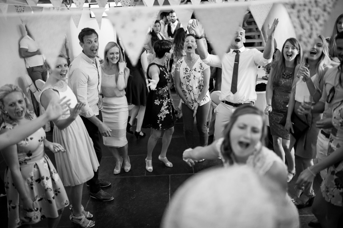 dancing and fun at the corn barn devon wedding