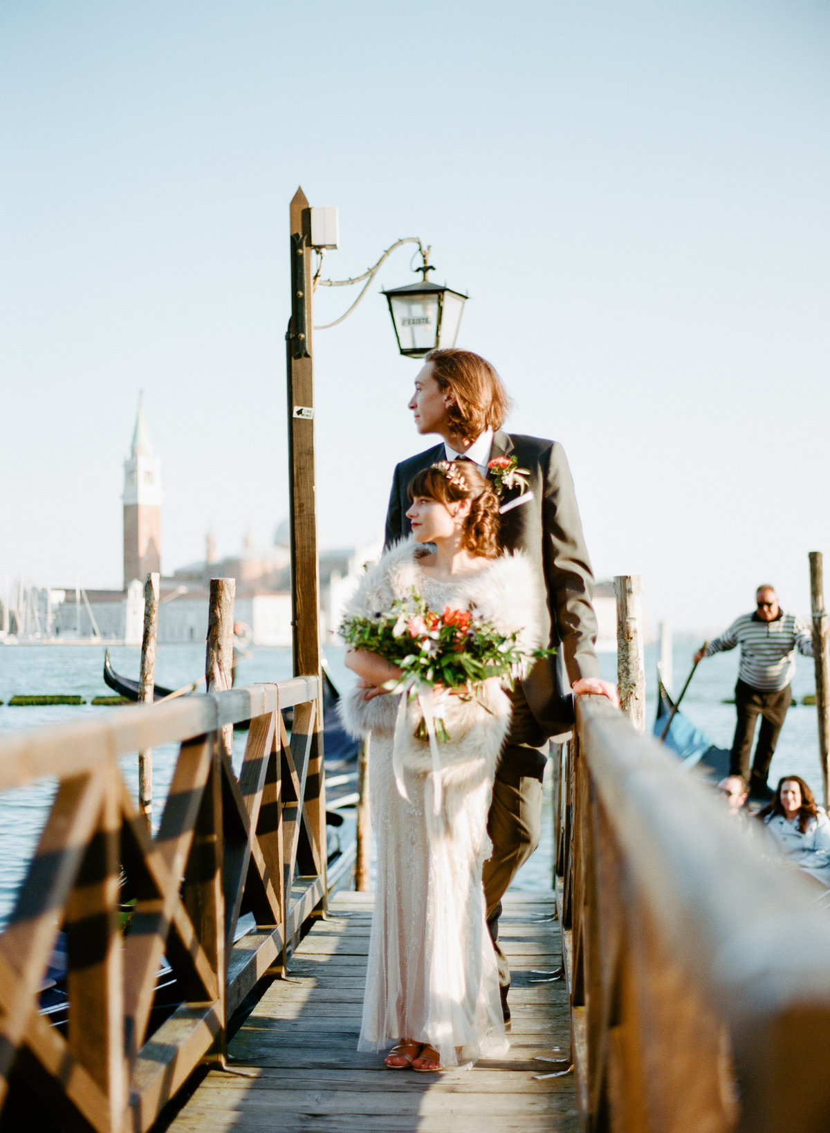 venice italy destination wedding elopement couple on gondola dock photographer