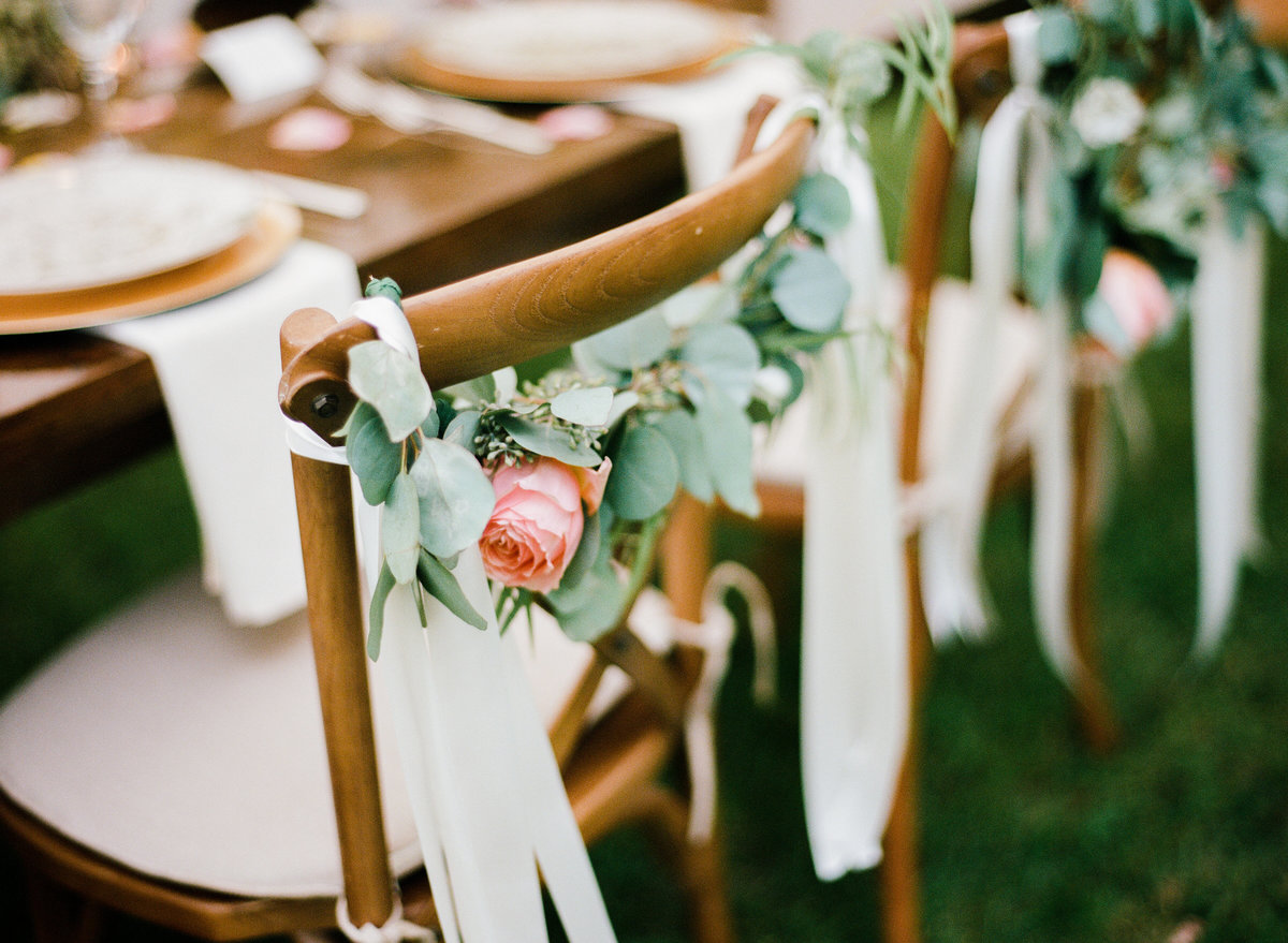 wedding reception chair garland backyard wedding