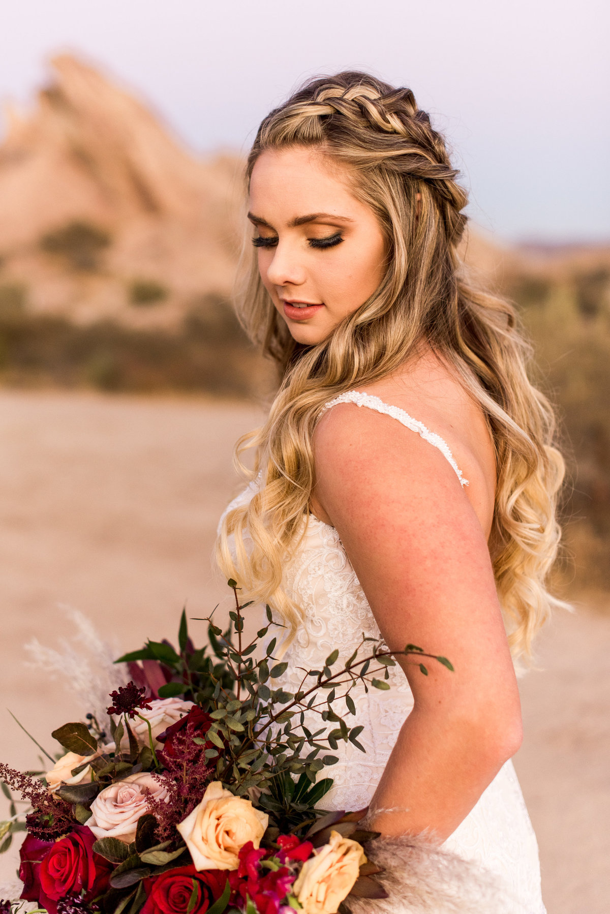 vasquez rocks bride photo