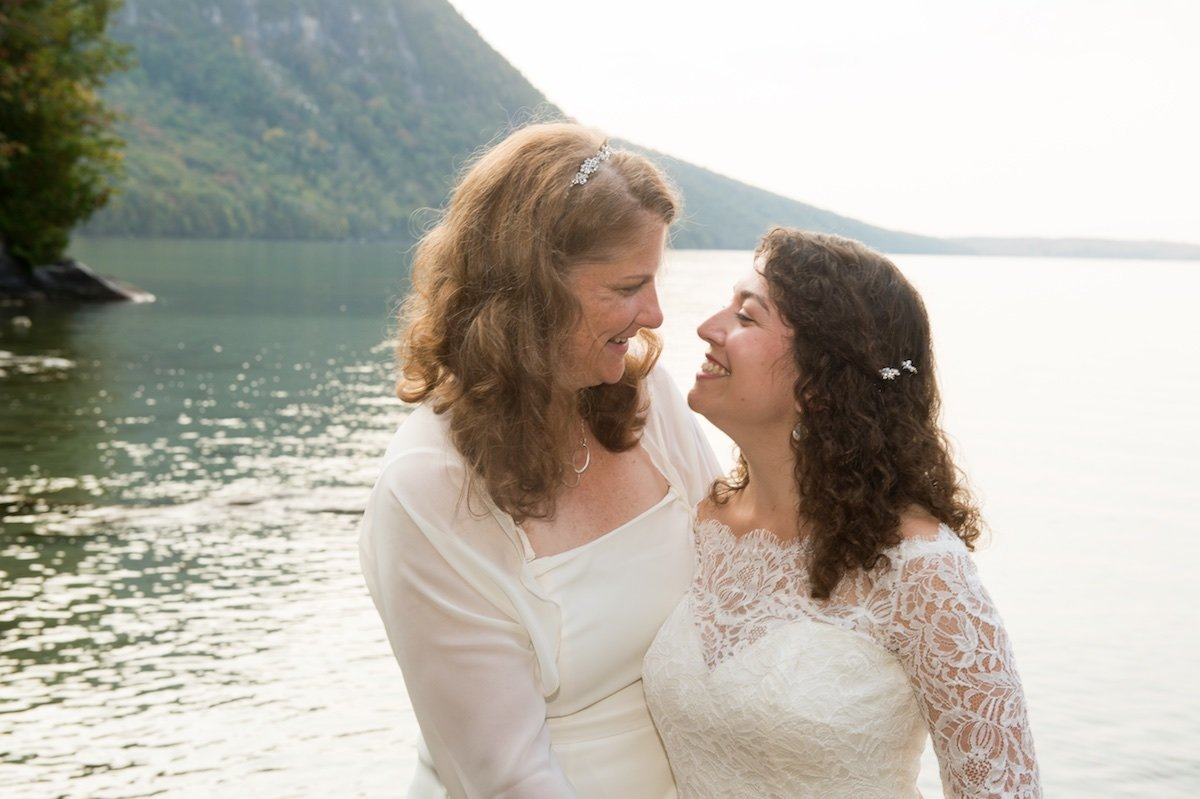 intimate outdoor same sex wedding ceremony at Vermont's Notch House 2