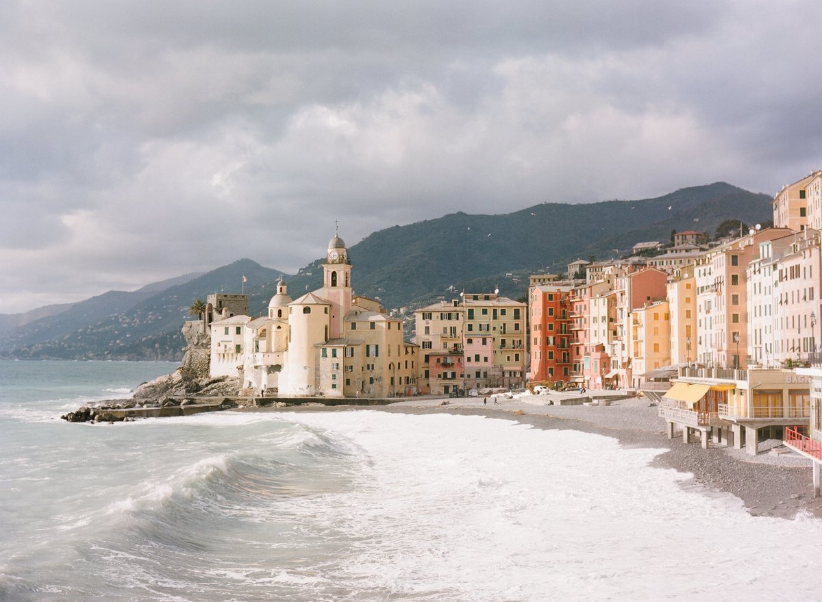 Liguria Beach Town at sunset