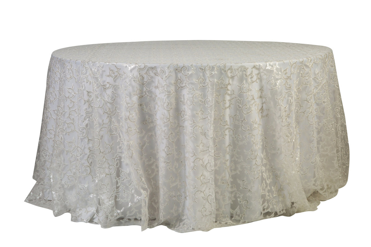 132'' Rd Ivory Jane Tablecloth