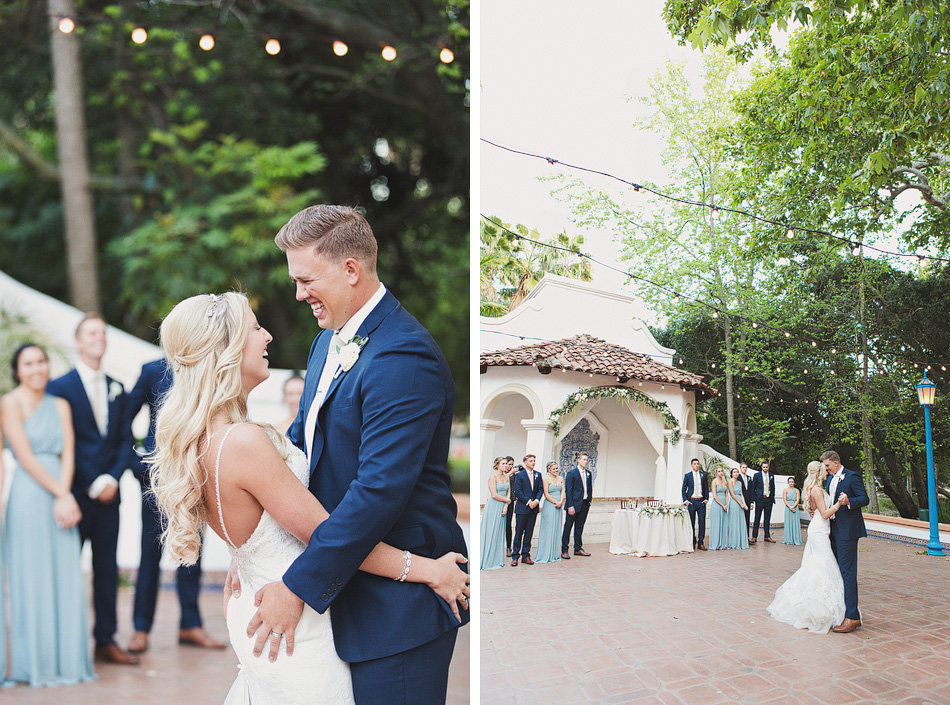 Bride and groom have their first dance at Rancho Las Lomas