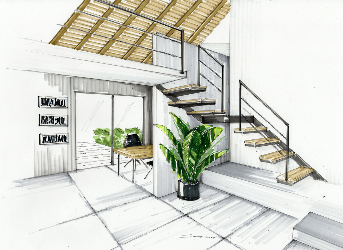 Room with Stairs Rendering- Shannin Williams