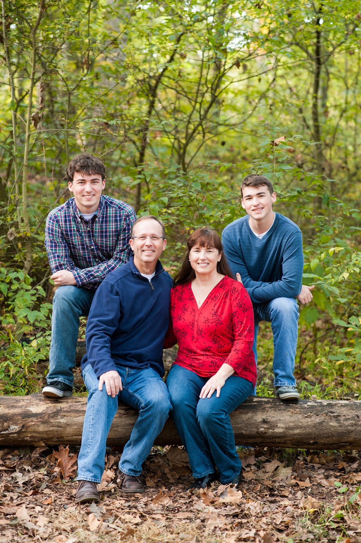 ricmond fall family portrait session at park in woods