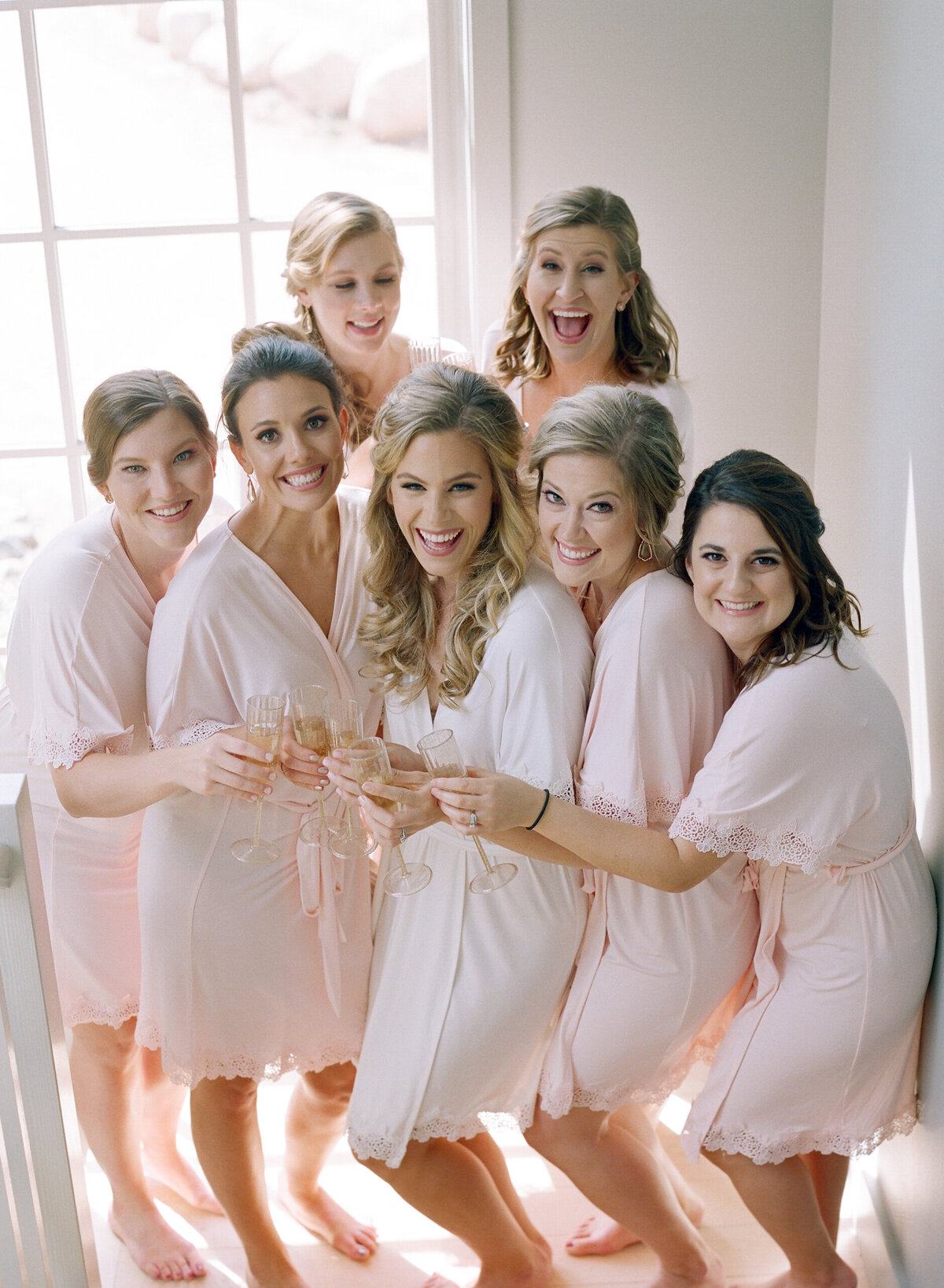 Aspen Bridesmaids Robe and Champagne