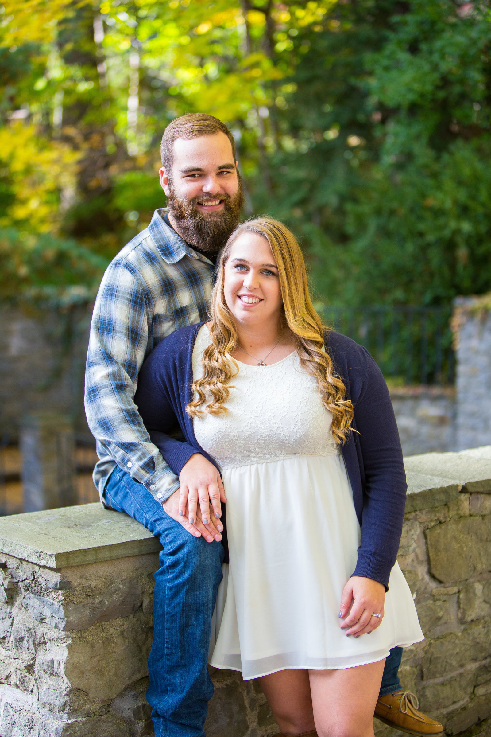 engagement portrait in sunken gardens at highland park
