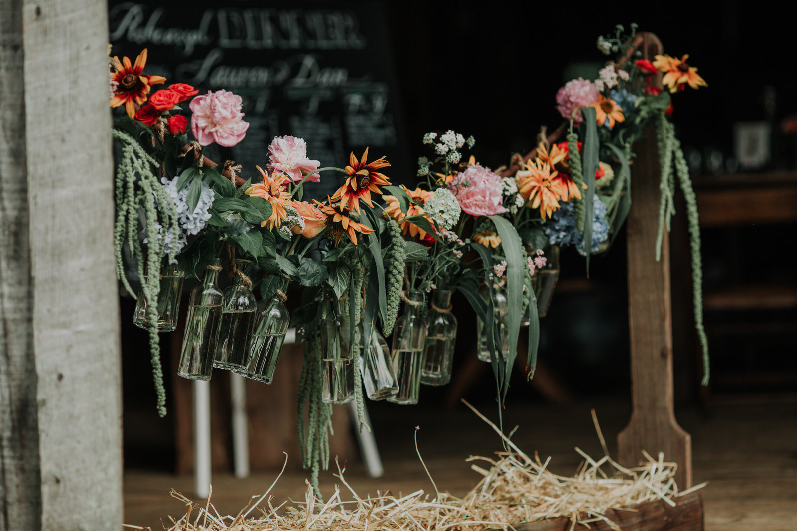 wedding flower decor by wild thyme flowers in centerville delaware photographed at Hill Girt Farm in chadds ford PA