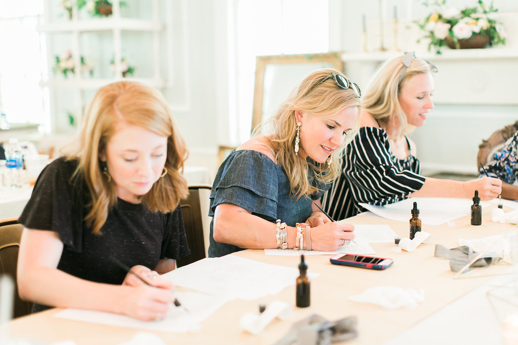Calligraphy workshop, School of Styling, The Parlour venue in Chapel Hill, North Carolina