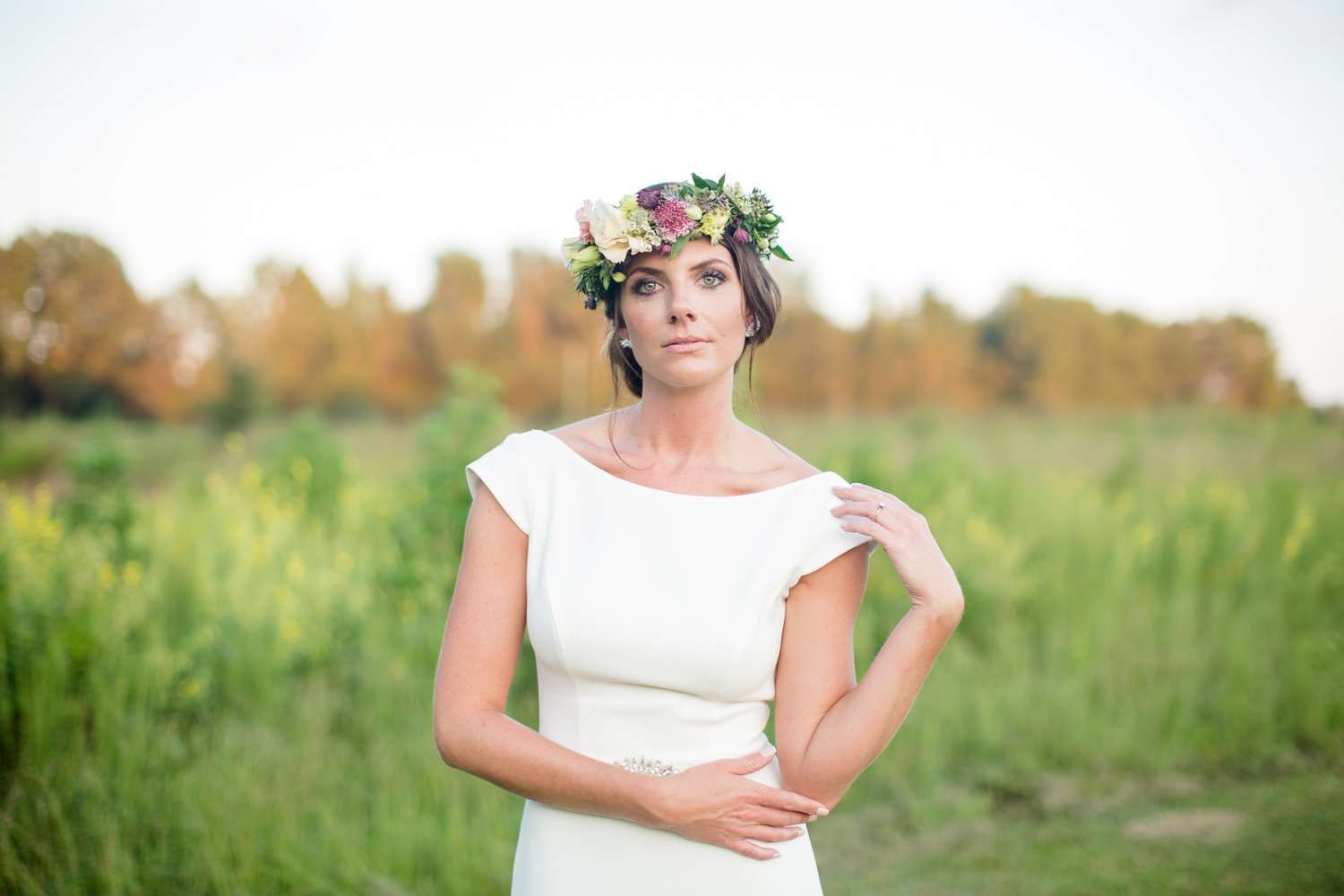 bridal portrait South Carolina flower crown field