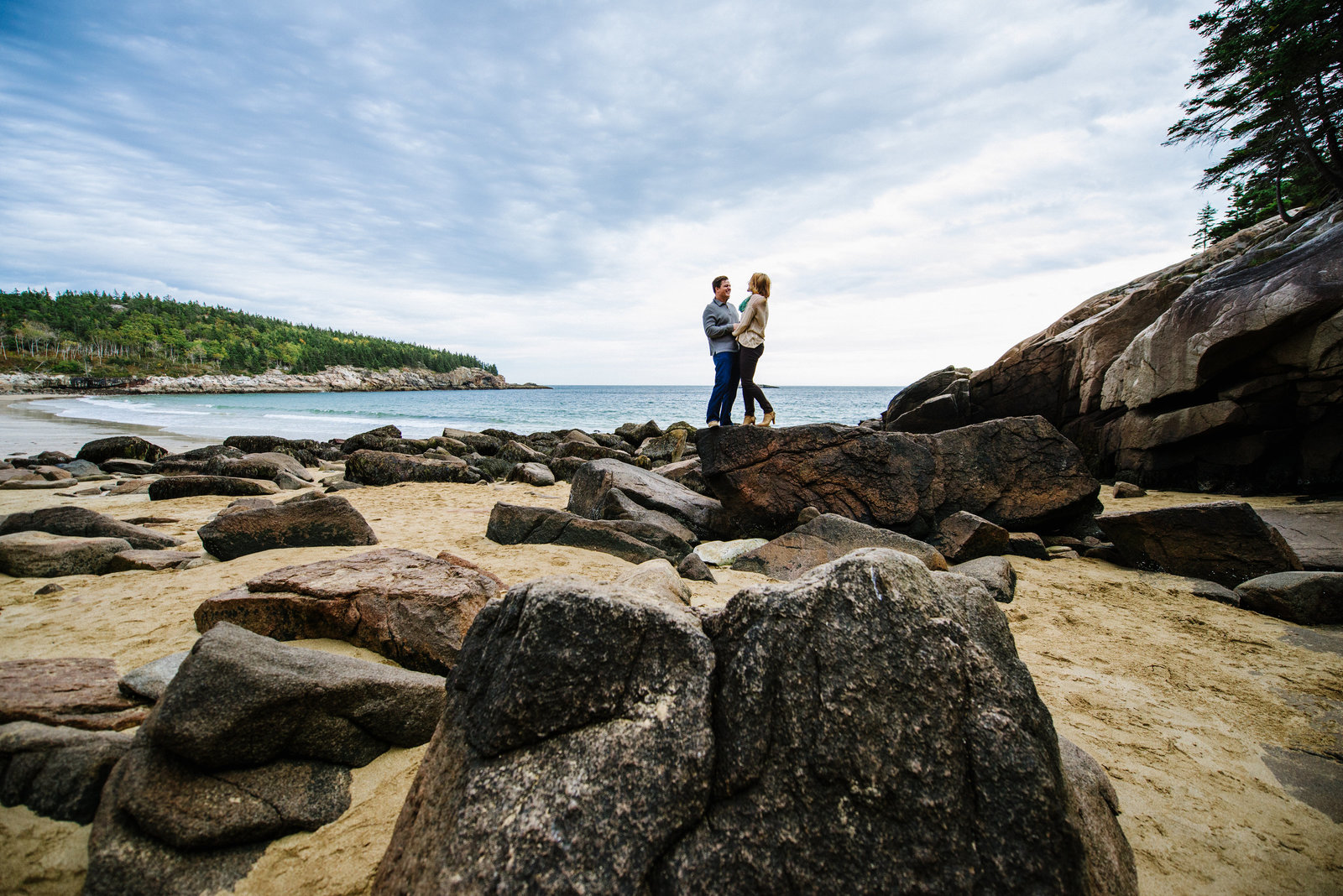 Sand Beach Acadia Engagement Session
