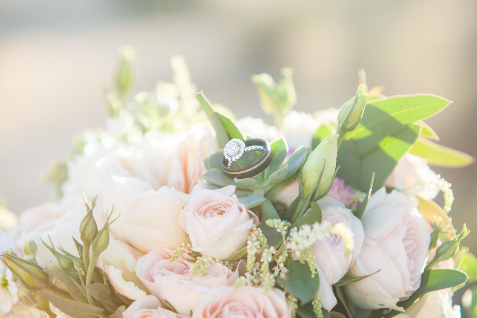 Joshua Tree Wedding bouquet and rings