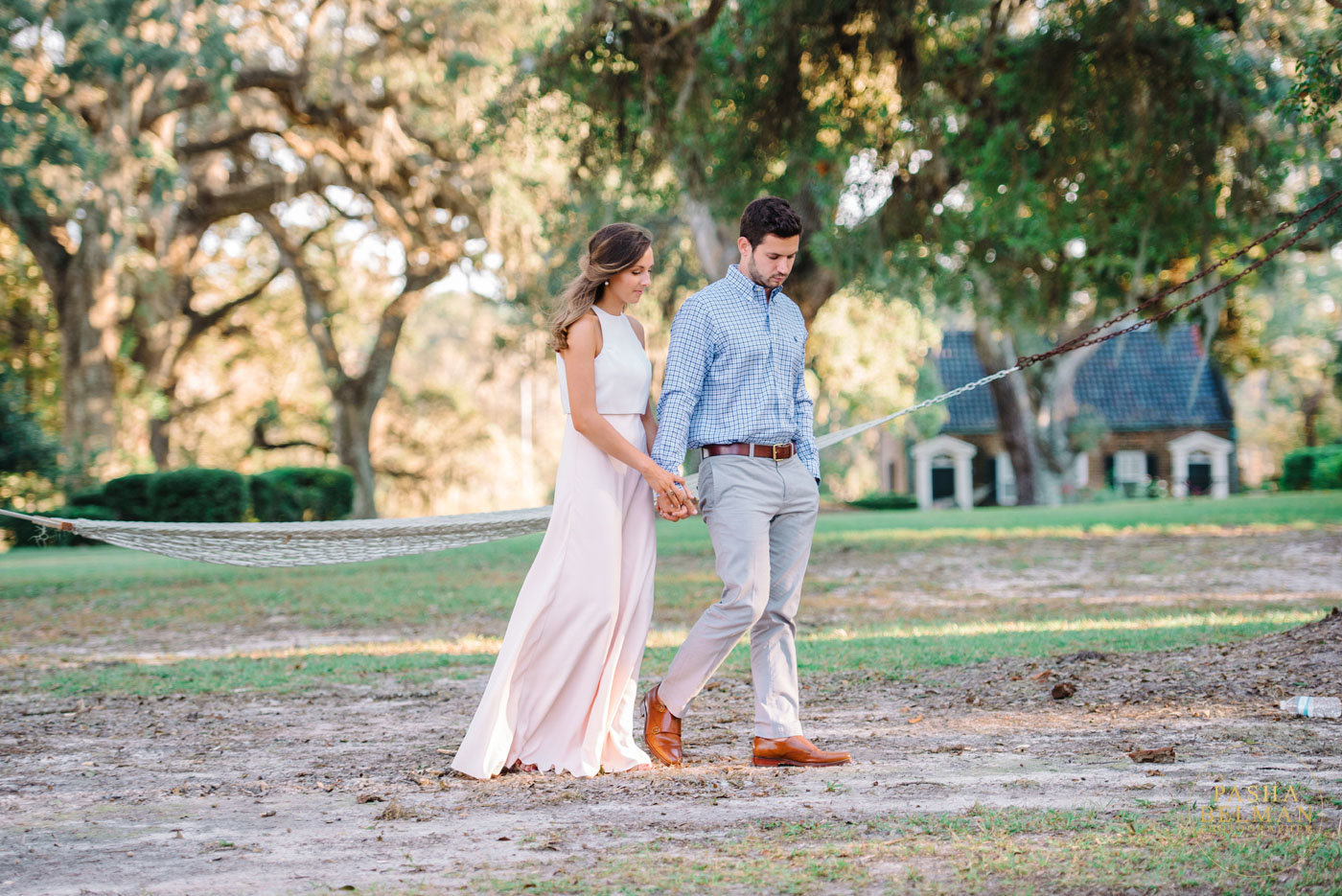 Charleston Engagement Photography | Fine Art Film Inspired Engagement Photography in Charleston, South Carolina | Live Oaks | Engagement Photography Ideas fof Couples with Dogs