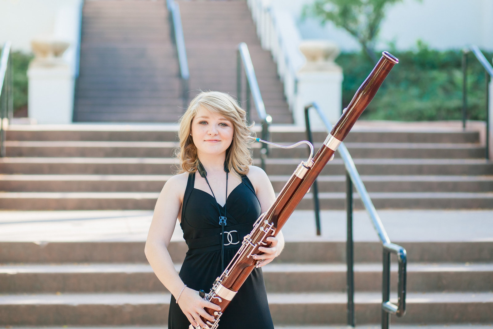 Placer High school Senior session girl with bassoon Auburn CA