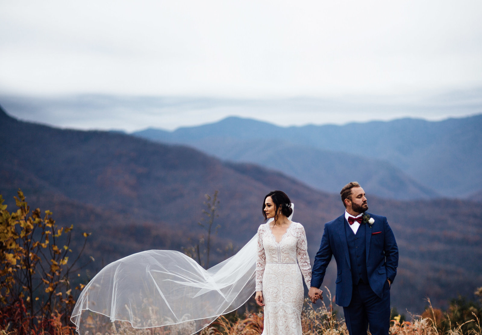 Gatlinburg Destination Wedding Bride and Groom in the Smokey Mountains