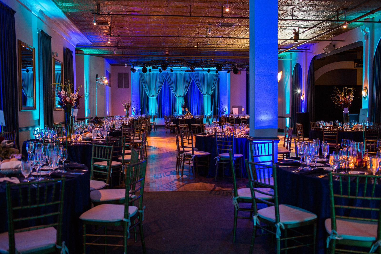 Clarendon Ballroom Wedding Reception with lighting