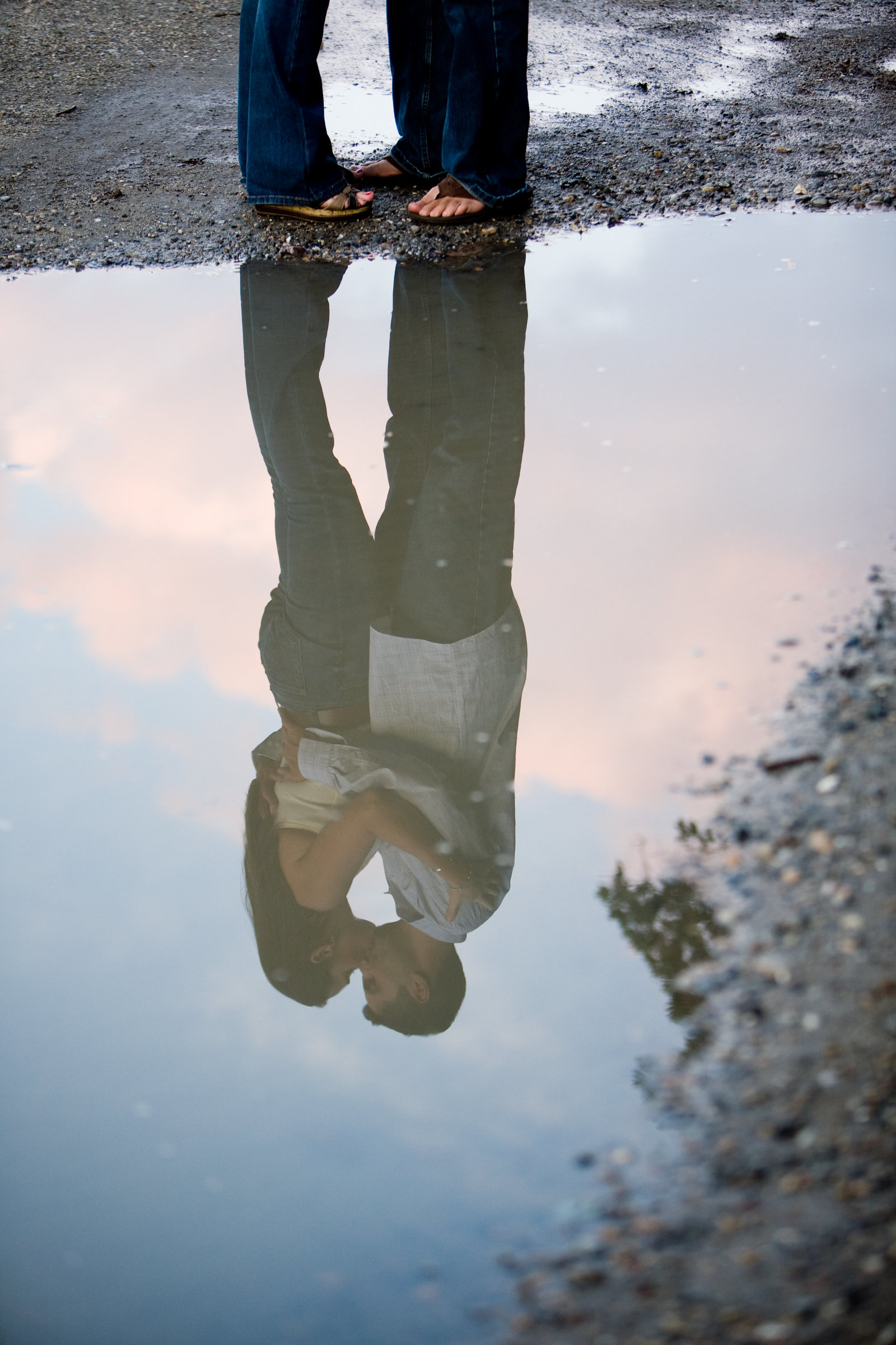 reflection of engagement couple kissing fine art photography by Hudson Valley NY photographer