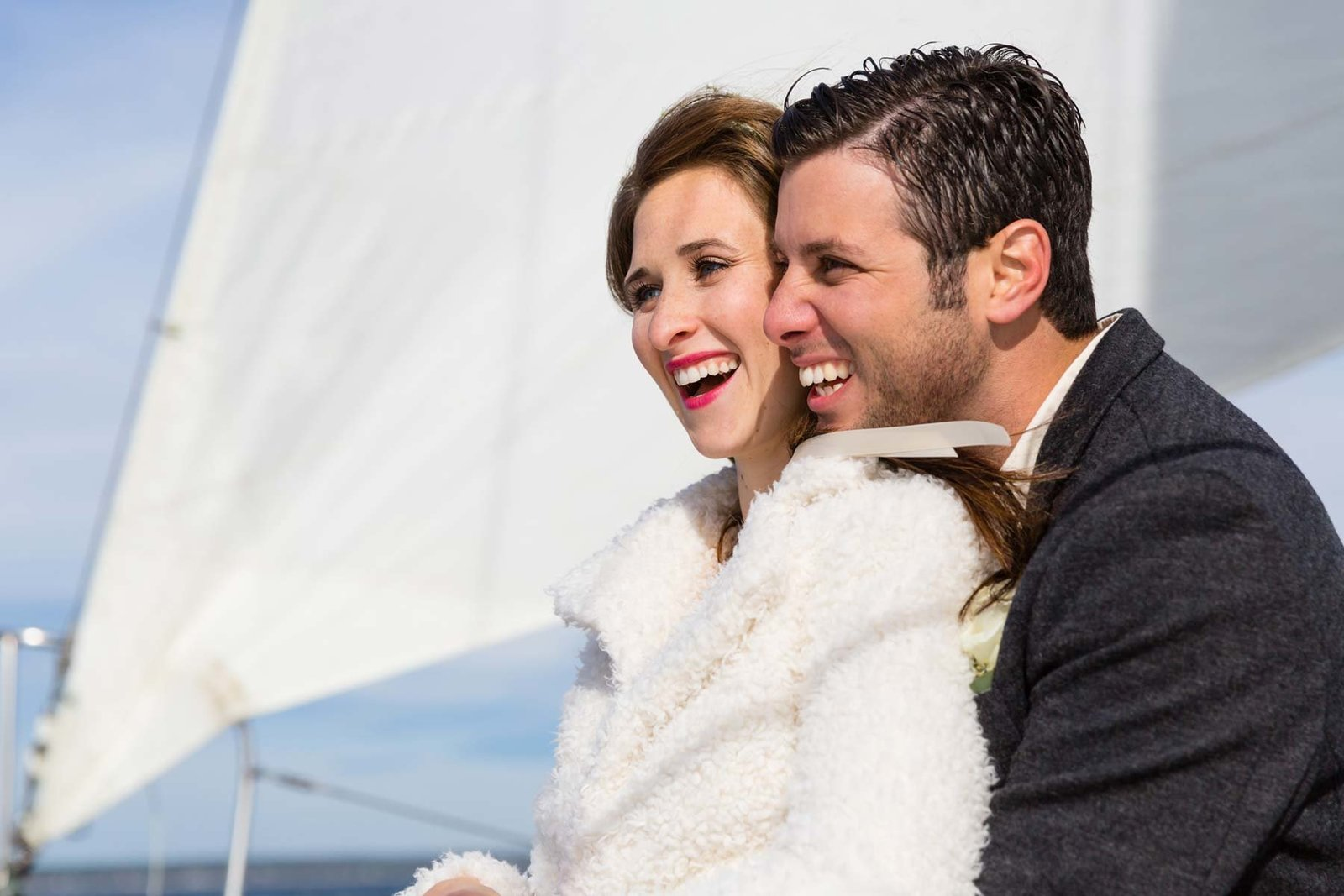 Ogunquit Maine Elopement Photographers on Silver Linings Sailboat on the water Elope Image Bride Groom I am Sarah V Photography