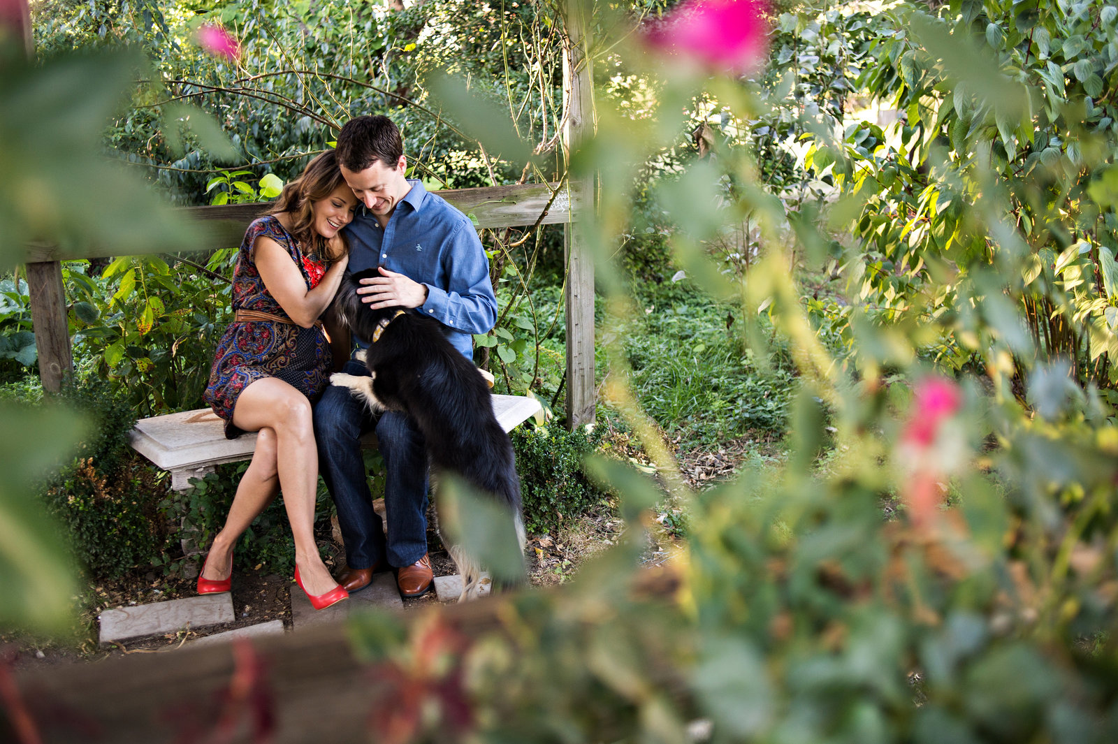 A newly engaged couple sit in the park with their sweet dog.