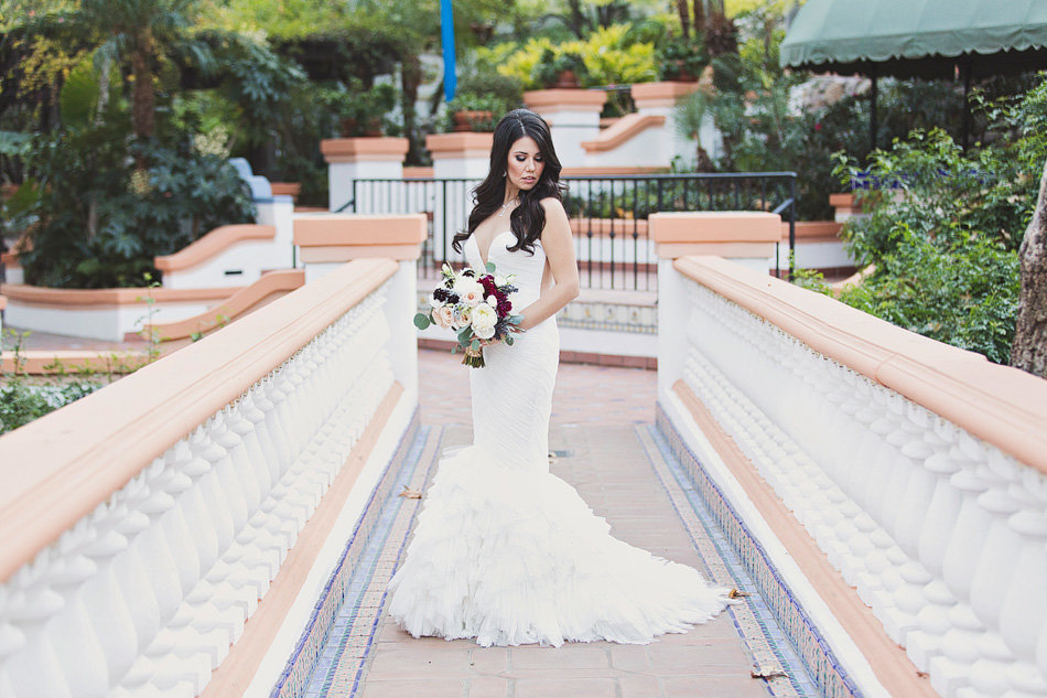 Bride portrait on bridge at Rancho Las Lomas Wedding