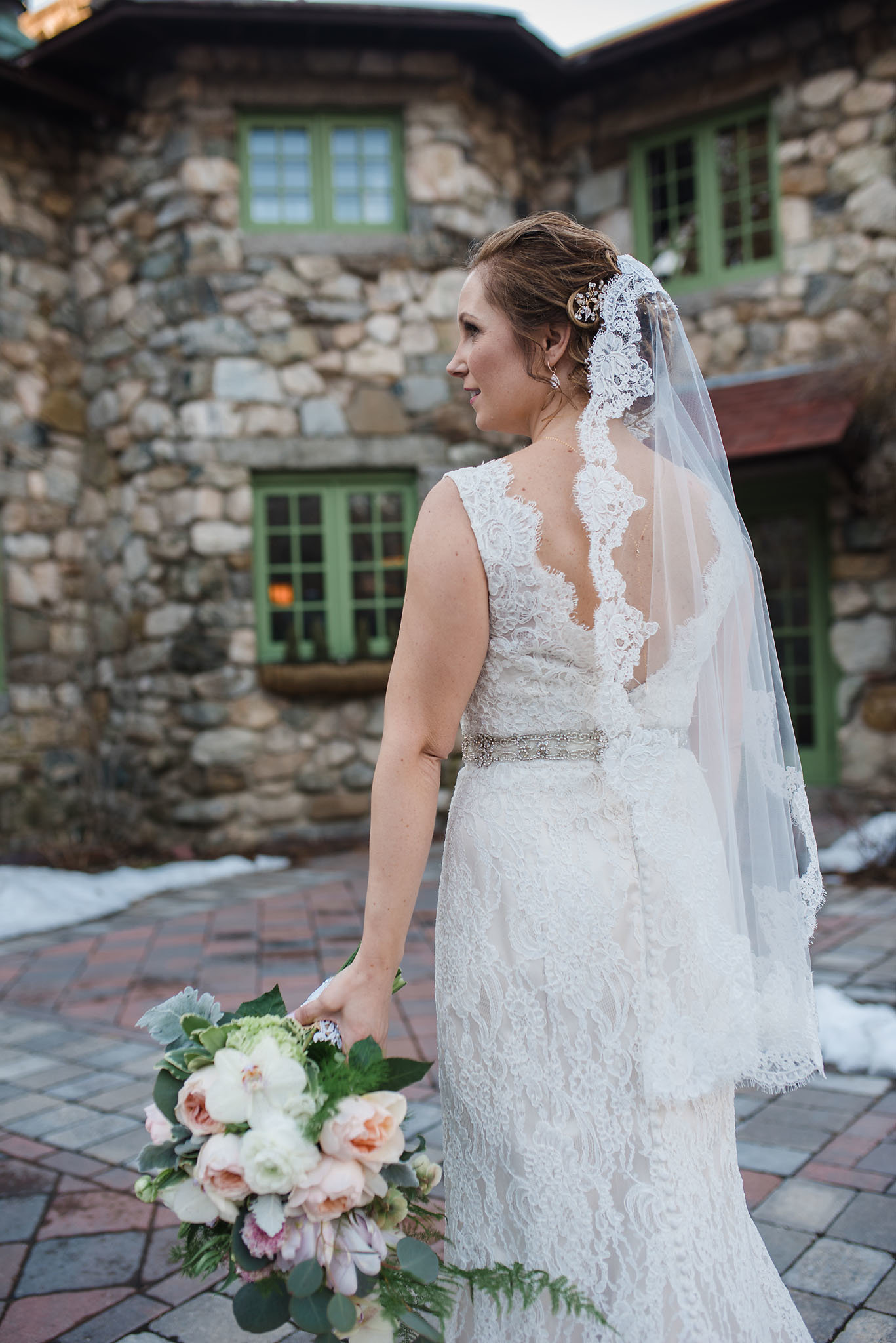 Willowdale Estate wedding, winter wedding, bride in lace, peony and orchid bouquet