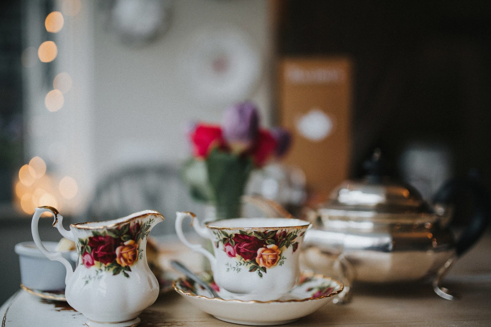 Vintage crockery and teapot at Baldry's Tearoom in the Lake District