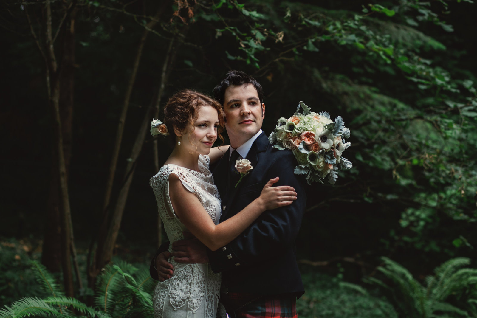 Beautiful portrait of bride and groom outdoors in the woods by best wedding photographer in portland Oregon Susie Moreno Photography
